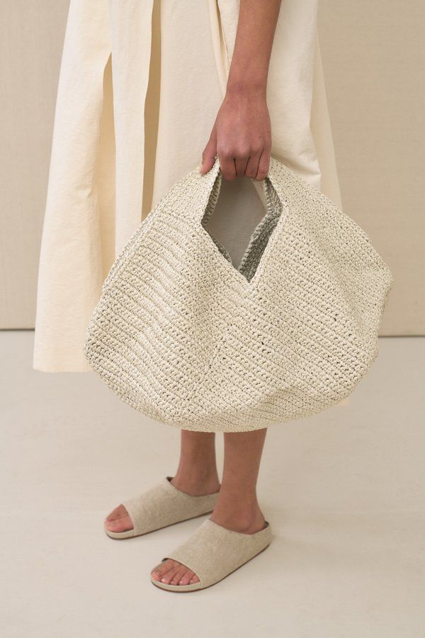 the pinwheel hand-crocheted cotton-blend tote by lauren manoogian