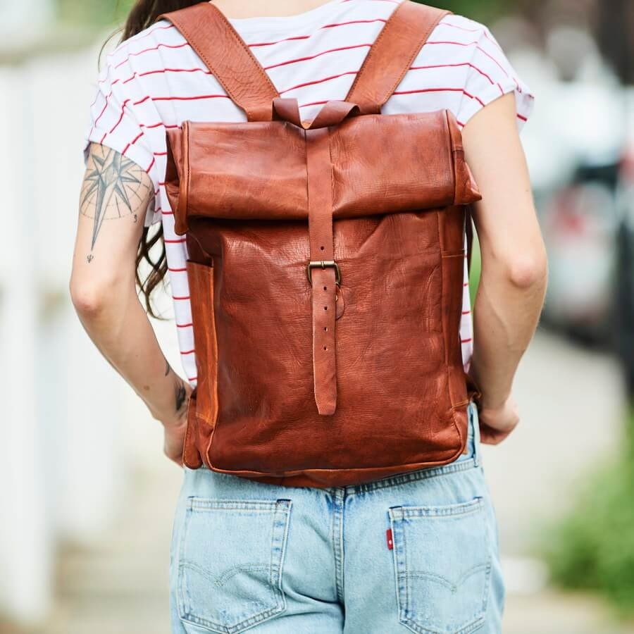 the rolltop leather laptop bag