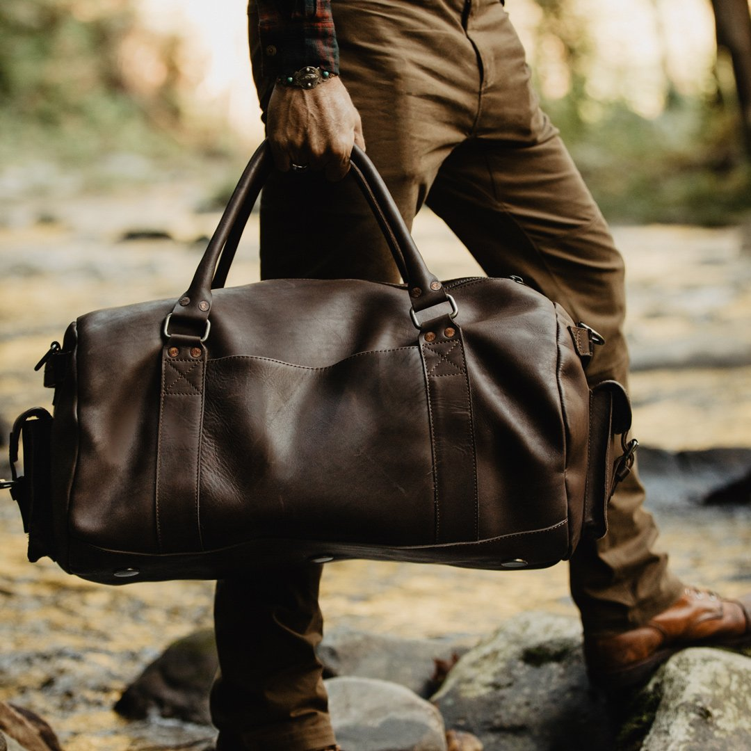 the two tone duffel bag for men